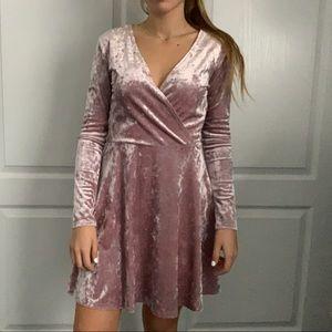 Womens velvet pink dress